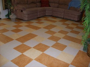 A Family Room floor using three colors in Marmoleum Click system.